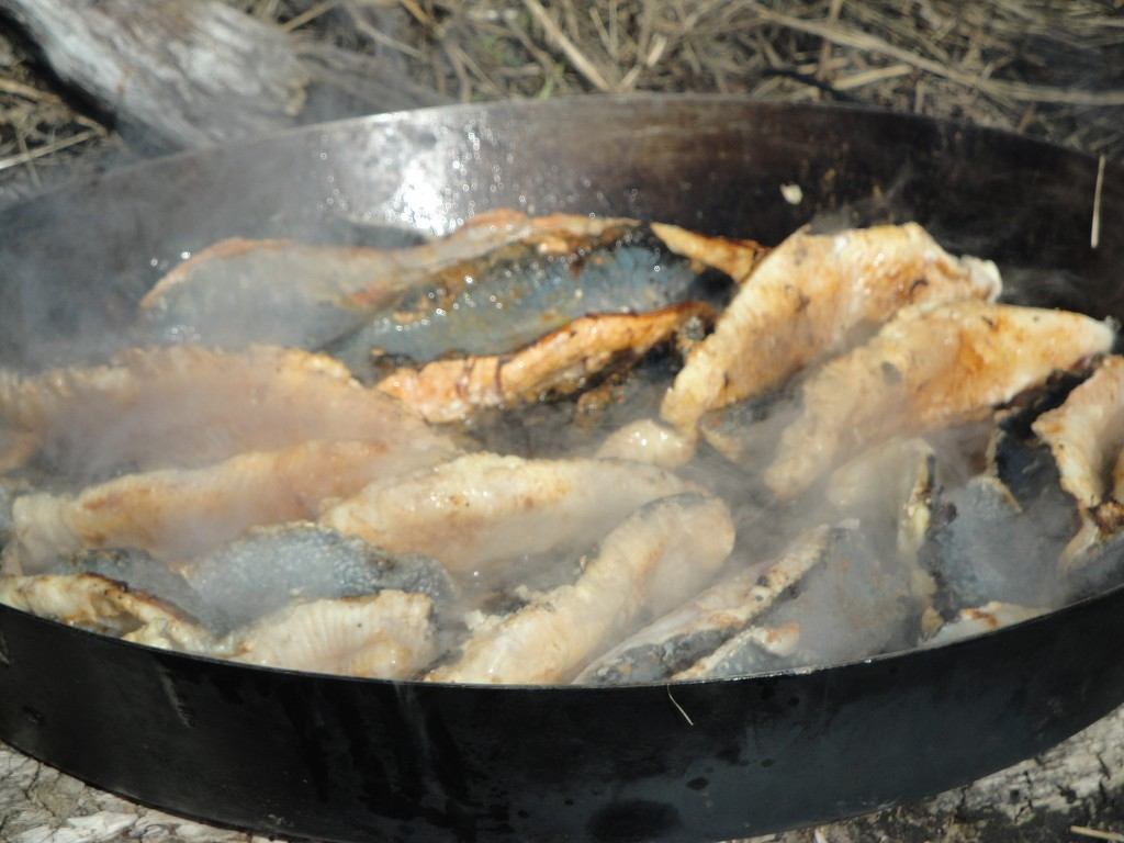 frying trout at Crescent Lake