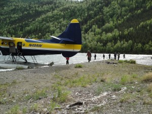 alaska lake fishing for trout by bush plane