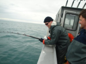 CJ Catching an Alaskan Halibut